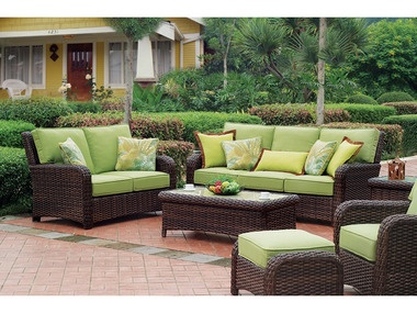 Wicker.com - Saint Barts Six Piece Outdoor Wicker Seating Set