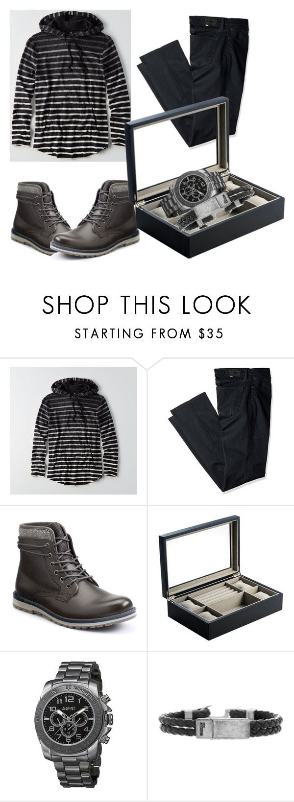 """""""Outfit #3"""" by lustydame ❤ liked on Polyvore featuring American Eagle Outfitters, Levi's, SONOMA Goods for Life, Bey-Berk, August Steiner, Steve Madden, men's fashion and menswear"""
