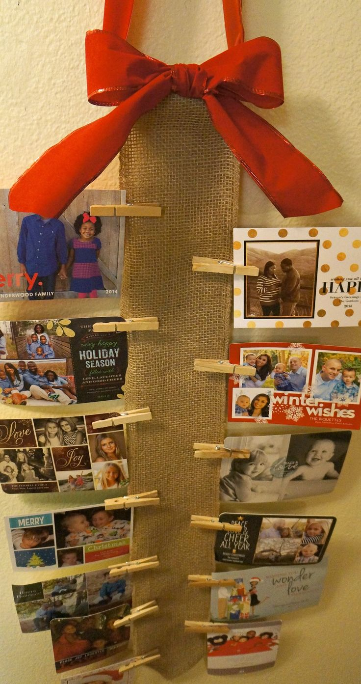 How To Display Your Holiday Cards: DIY Burlap Wall Christmas Card Holder