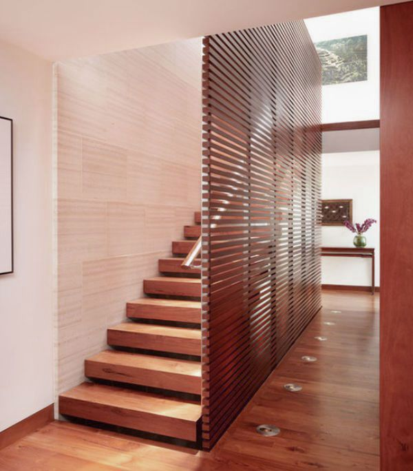 Delightful Contemporary Wooden Staircase Design Ideas With Chrome Handle