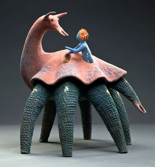 « Les Amourois ». Emerging from the imagination of the experienced ceramist, France Fauteux, these likeable anthropomorphic and colourful characters become alive in a phantasmagorical story. More than a fairy tale, this story may be akin to an allegory on happiness by Quebec artist, France Fauteux. (Reminiscent of Dinotopia!)