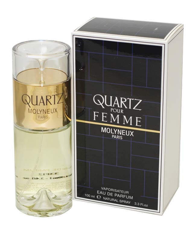 Launched by the design house of Molyneux in 1977, QUARTZ PERFUME is classified as a refreshing, flowery fragrance. This feminine scent possesses a blend of a fresh floral with citrus notes. It is recommended for daytime wear.. Quartz Perfume by Molyneux for women.  http://www.fragrantica.com/perfume/Molyneux/Quartz-pour-Femme-4412.html