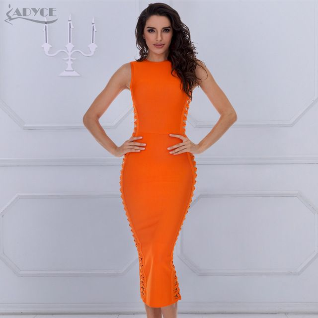 ADYCE 2018 Winter Dress Women Sexy Celebrity Party Dresses Bandage Dress  Bodycon Runway Dress O-