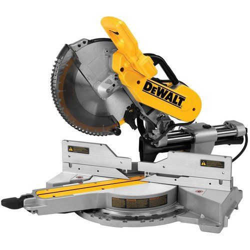 Dewalt DWS779R 15 Amp 12 in. Sliding Compound Miter Saw (Certified Refurbished)  Dual horizontal steel rails with innovative clamping mechanism and linear ball bearings deliver an accurate, durable and compact saw  Tall sliding fences support crown molding up to 7-1/2 in. nested and base molding up to 6-3/4 in. vertically against the fence while easily sliding out of the way for bevel cuts  Adjustable stainless steel miter detent plate with 10 positive stops improves productivity and e...