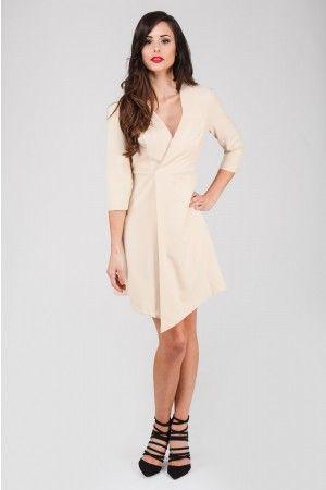 Natural Long Sleeve Asymmetric Hem Dress