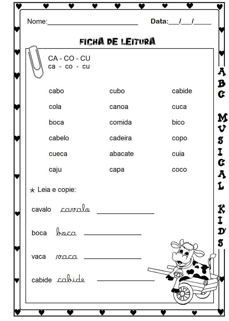 ATIVIDADES DE EDUCAÇÃO INFANTIL  E MUSICALIZAÇÃO INFANTIL: Ficha de leitura 1° ano