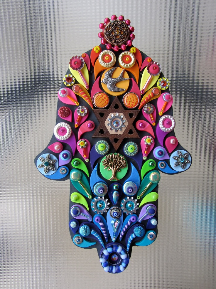 Judaica Art Embellished Hamsa Jewish Wall Art Decor Hand Crafted OOAK Custom Made. $95.00, via Etsy.
