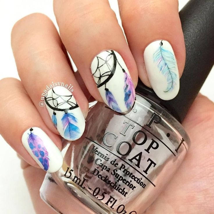 Cool dream catcher nails by @upadaisynails #dreamcatcher #feathers #feathersnails #practicing #lines #thinlines #freehand #freehandnails #sunday #smalto #piume #acchiappasogni by nailartcrazed