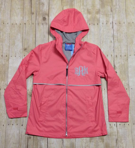 These are authentic Charles River Apparel Wind & Waterproof Rain Jackets. They can be monogrammed on the left chest and/or the hat. The cost is $50 for left chest only, $50 for hood only or $57 for both left chest and hood.