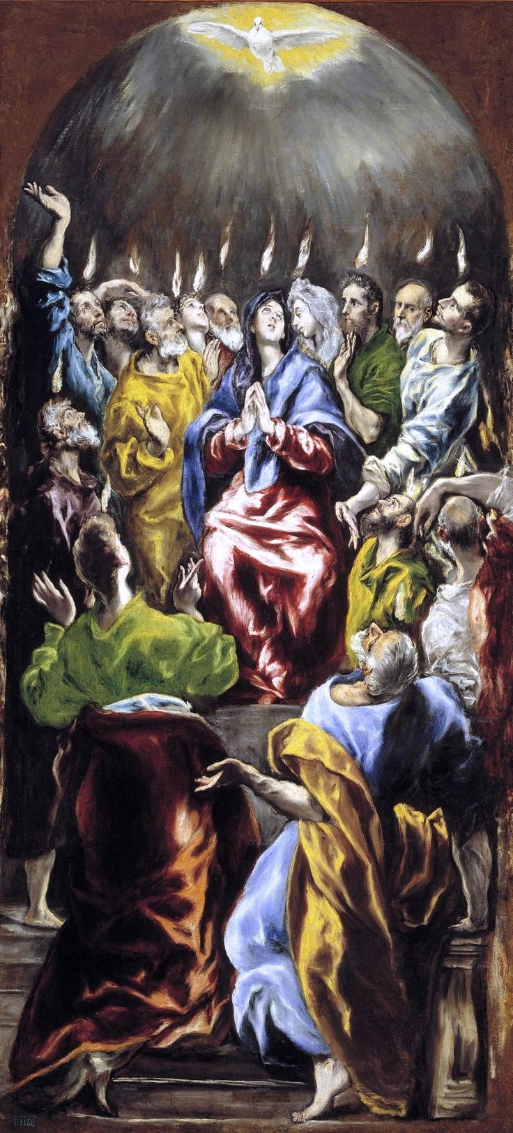 "Art from Spain - Doménikos Theotokópoulos (Crete 1541 – Toledo 1614), most widely known as ""El Greco"", was a painter, sculptor and architect of the Spanish Renaissance. El Greco was born in Crete, which was at that time part of the Republic of Venice, in 1577, he moved to Toledo, Spain, where he lived and worked until his death. - The Pentecost - Pentecostés_(1597 - 1600) Muséo del Prado, Madrid."