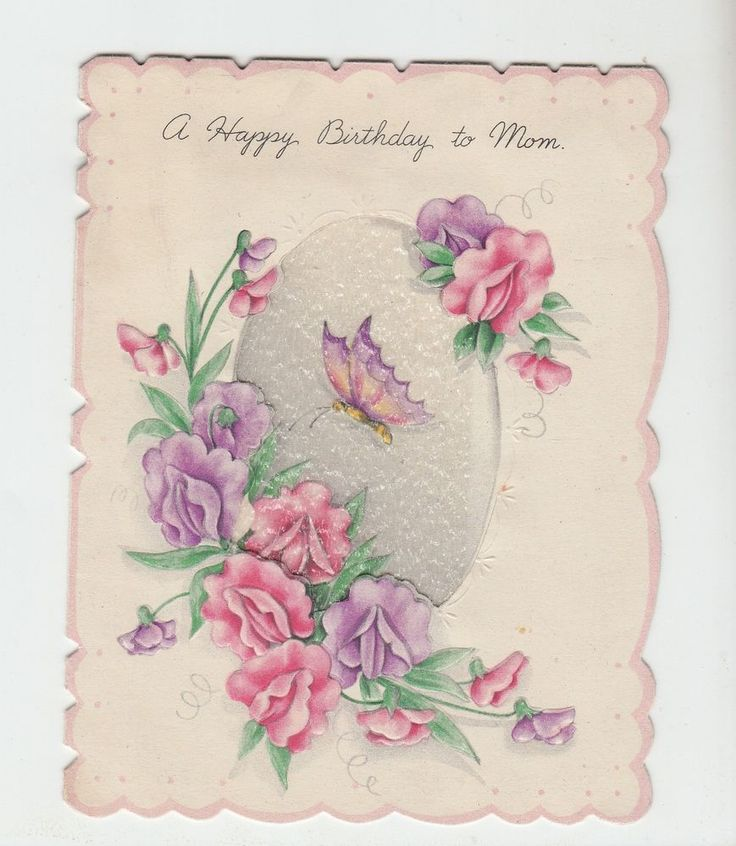Vintage Gladiolus With Butterfly Happy Birthday Mom Greeting Card