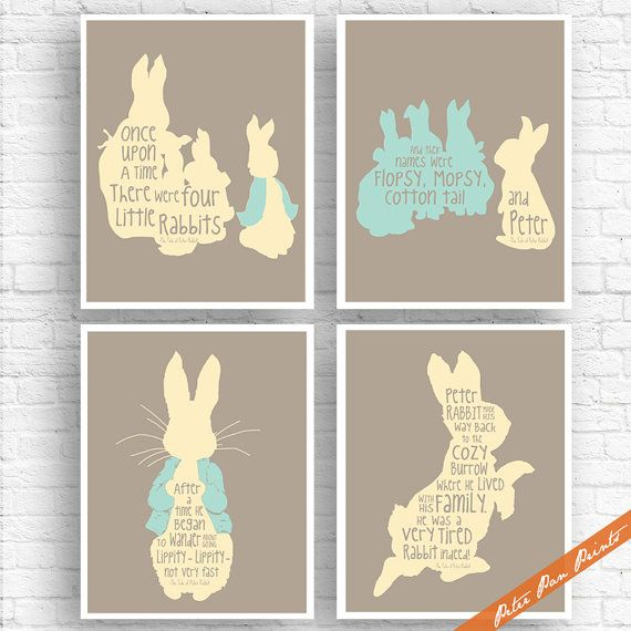 The Tale of Peter Rabbit Quotes Set of 4 Art by PeterPanPrints
