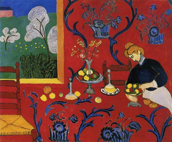 Mesa Posta – Harmonia em Vermelho Autor: Henri Matisse Onde ver: Hermitage, St. Petersburg, Russia  Ano: 1908 Técnica: Óleo sobre tela Movimento: Fauvismo