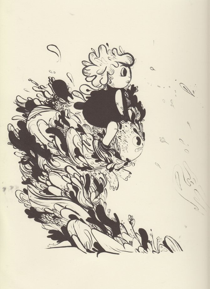 PRE ADVENTURE - Karina Posborg - ink - hand drawn- monster - creature - dragon- wind -