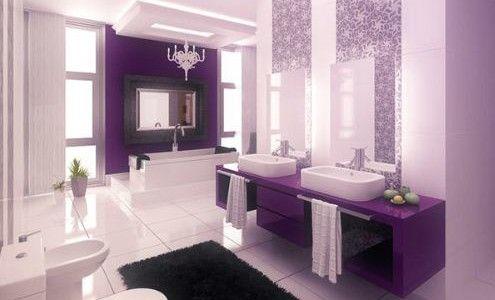 Using Purple Color for Your Bathroom Design: Modern Purple Bathroom Design With Black Fur Rug And White Floor ~ Bathroom Inspiration