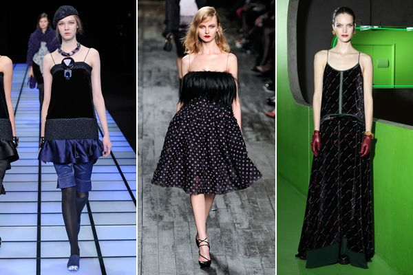 Spaghetti-thin straps make a comeback with the assistance of dark, dramatic dresses