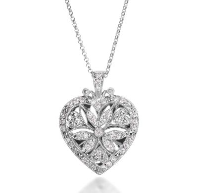 in diamond pendant floral sterling locket silver jewelry with
