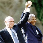 Nelson Mandela & FW de Klerk - On 5 April 1990, at an informal meeting in Cape Town, President F.W. de Klerk and Nelson Mandela agreed to reschedule formal talks between the Government and the African National Congress (ANC).
