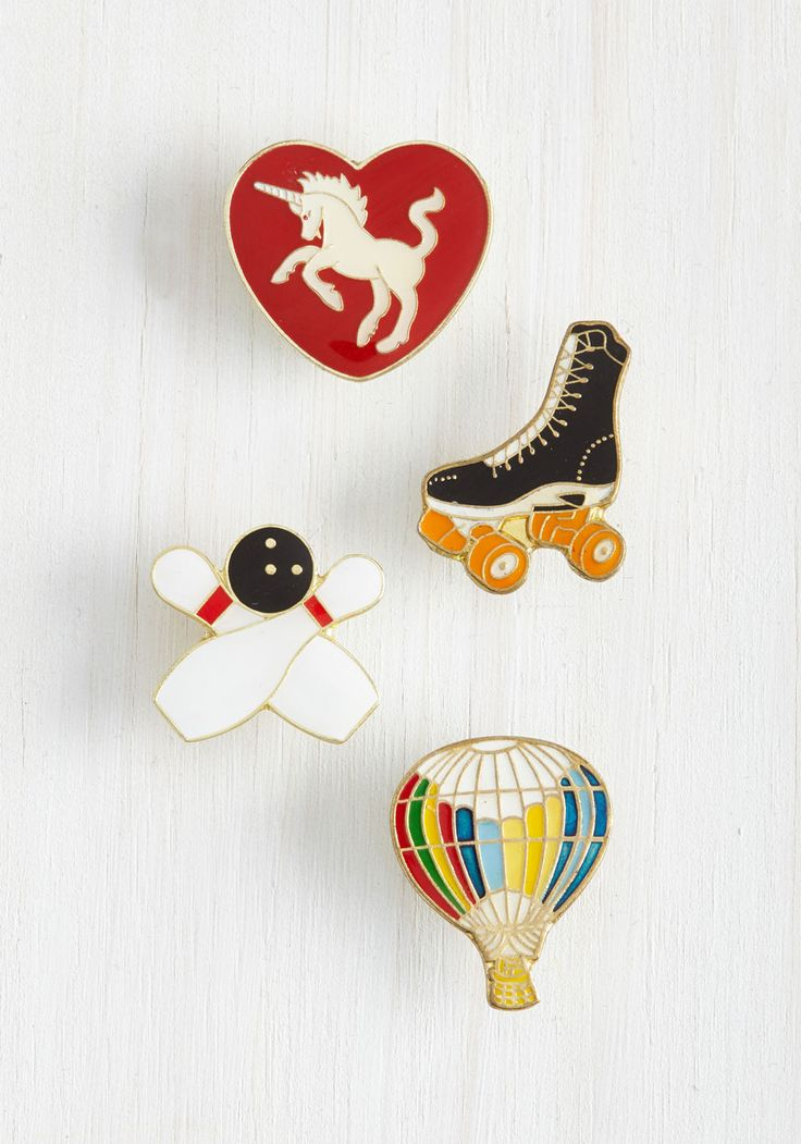 For Good Leisure Enamel Pin Set. Some may say one enamel pin is enough, but you know in your heart - your unicorn-adorned heart - that such is not the case! #multi #modcloth