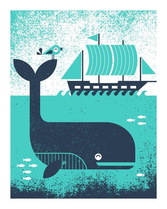 Whale & Bird Screenprint Poster - by Basemint Design