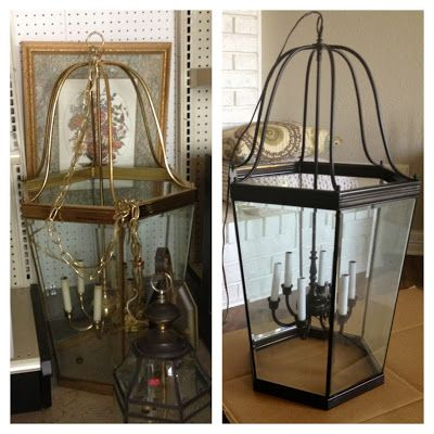 The Happy Homebodies: DIY Brass Light Makeover {Bye Bye 1980s}, how spray painting a brass light fixture can completely transform it into something current! Total cost for this thrift store light? $15. Compare to $725 lantern at Restoration Hardware...