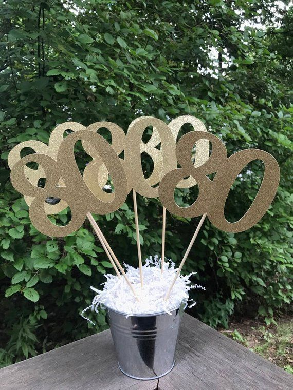 80th Birthday Centerpiece Sticks Glitter Decoration Table Decorations