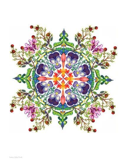 Nandina Mandala Unmatted Print. $20.00, via Etsy.  Pretty Tattoo Pattern