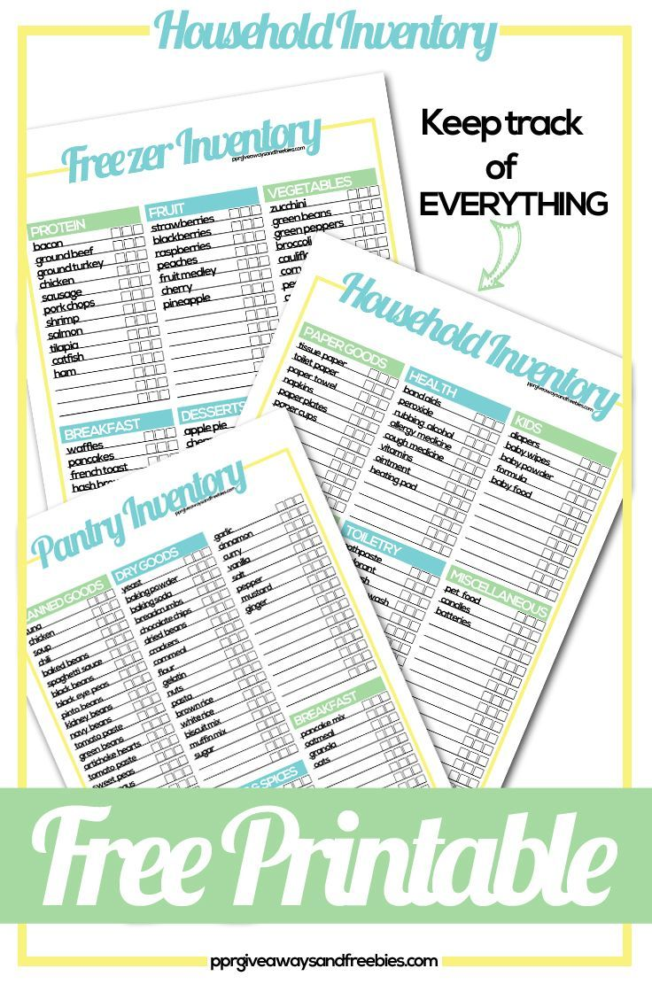 Household Inventory Tracker- Free Printables make grocery shopping so much easier. Know what you have in your inventory and visualize it while you are at the grocery store. Never run out of your stash with these handy inventory lists. One for the pantry, freezer and household. Please share or repin.