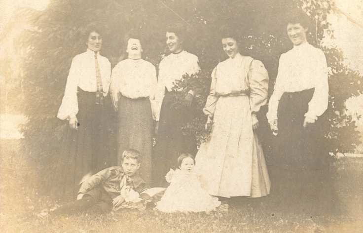 Family portrait (Ellis LittleLocal History Room collection).  Wonderful to see less formal expressions and, in fact, one woman enjoying a good laugh!