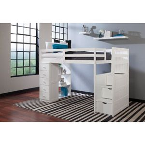 Canwood mountaineer twin loft bed with storage tower and built in stairs drawers white kids - Loft bed with drawer stairs ...