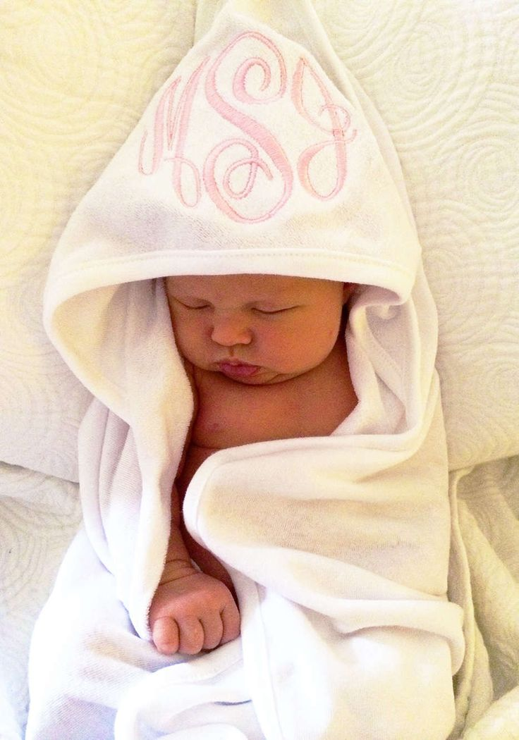Soft and elegantly monogrammed, this white, 100% cotton terry cloth infant hooded towel is the perfect gift to give to newborn parents. Choose from 16 thread colors and five font styles in which to celebrate that brand-new baby name.