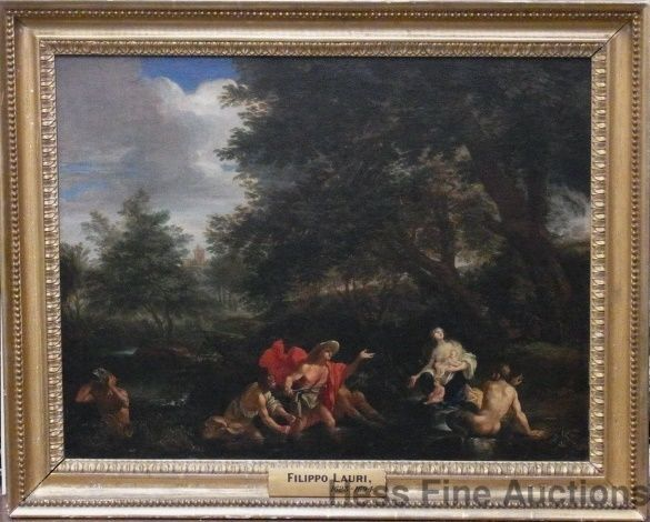 Important Circle of Filippo Lauri Old Master Latona Peasants Into Frogs Painting #Realism