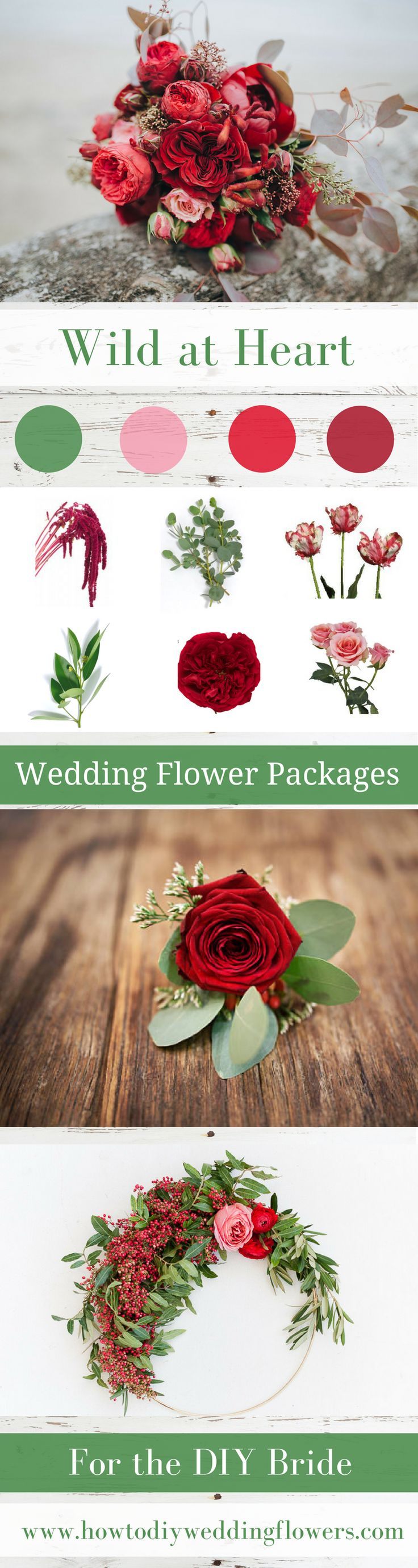 Wedding Trends 2018! RED  DIY Wedding Flower Packages! Buy Easy Complete DIY bouquet, Boutonniere & Centerpiece Flower packages online! How to make a wedding bouquet DIY wedding bouquet tutorials and instructions. #weddingflowerpackages #weddingflowers #weddingtrends
