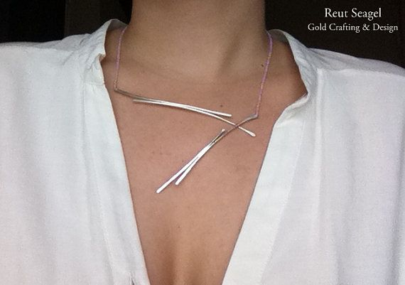 Silver statement Necklace Delicate jewelry Geometric door ReutSeagel, $96.00