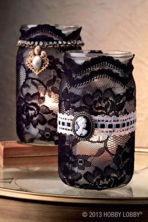 Vintage Lace Wrapped Mason Jar Candle Holder.