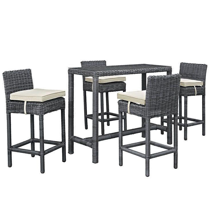 Modway Furniture Modern Summon 5 Piece Outdoor Patio Sunbrella® Pub Set