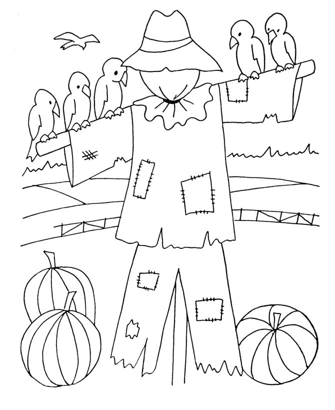 coloring pictures of scarecrows
