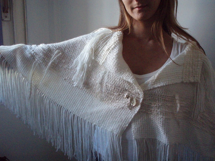 THE BROOCH handwoven cape poncho wrap with brooch by laslopezlas, $78.00