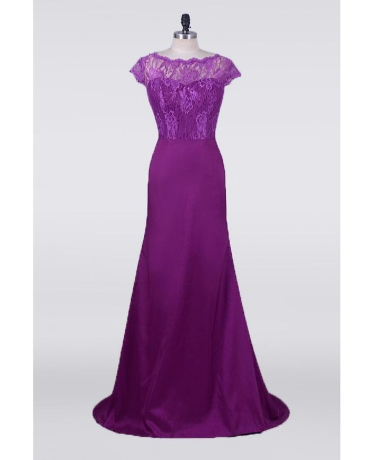 Purple Petite Mermaid Mother Of The Bride Dresses With Modest Lace Cap Sleeves