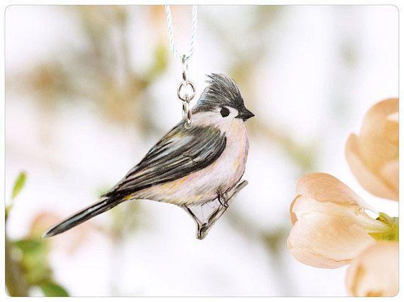 Indianermeise, Vogelkette • tufted titmouse, chain titmouse, bird necklace, pink-grey, gift bird lover, silver chain titmouse, necklace bird, titmouse