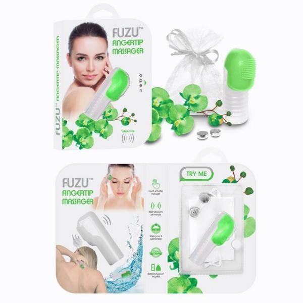 Fuzu Fingertip Massager Neon Green on naughtycandyz
