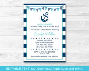 Nautical Anchor Baby Shower Invitation / by LittlePrintsParties