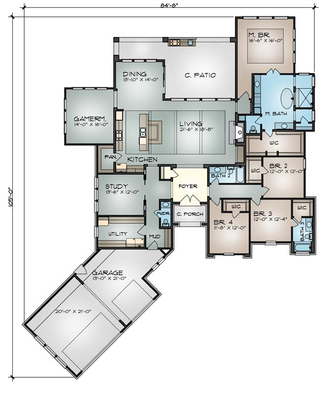 Love general layout and angled garage, but not exterior style Floor Plan image of Featured House Plan: BHG - 9749