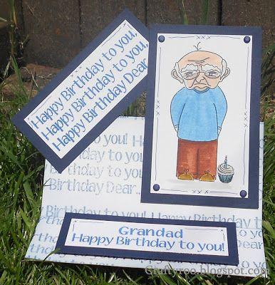 A cheeky chappy card made with stamps from Nina Crafts