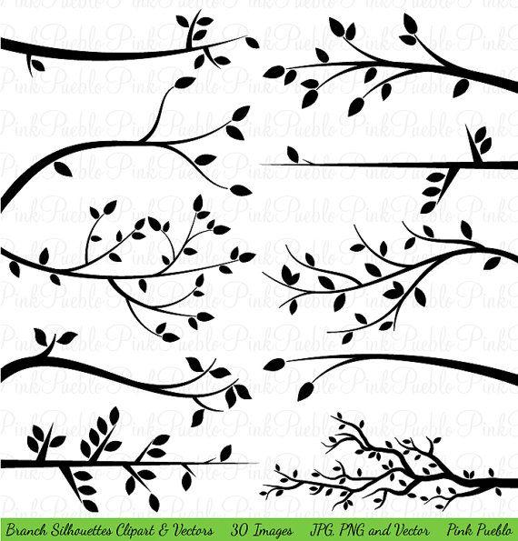 Branch Silhouettes Clipart Clip Art Tree Branch Clip por PinkPueblo