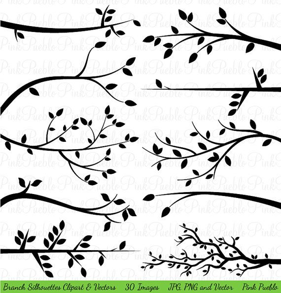 Branch Silhouettes Clipart Clip Art, Tree Branch Clip Art Clipart Vectors - Commercial and Personal Use