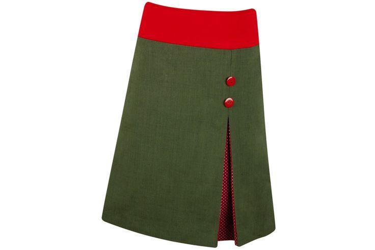 Jeansröcke - Kellerfaltenrock Jean grün rot - ein Designerstück von Linea-Mano bei DaWanda