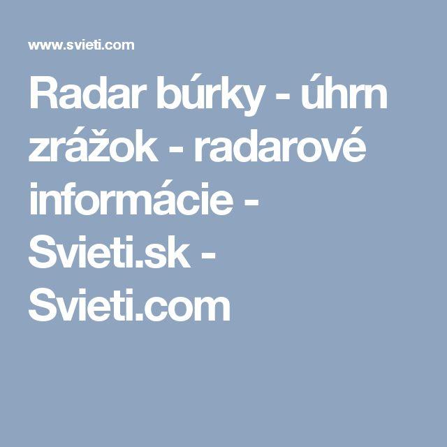 Radar búrky - úhrn zrážok - radarové informácie - Svieti.sk - Svieti.com
