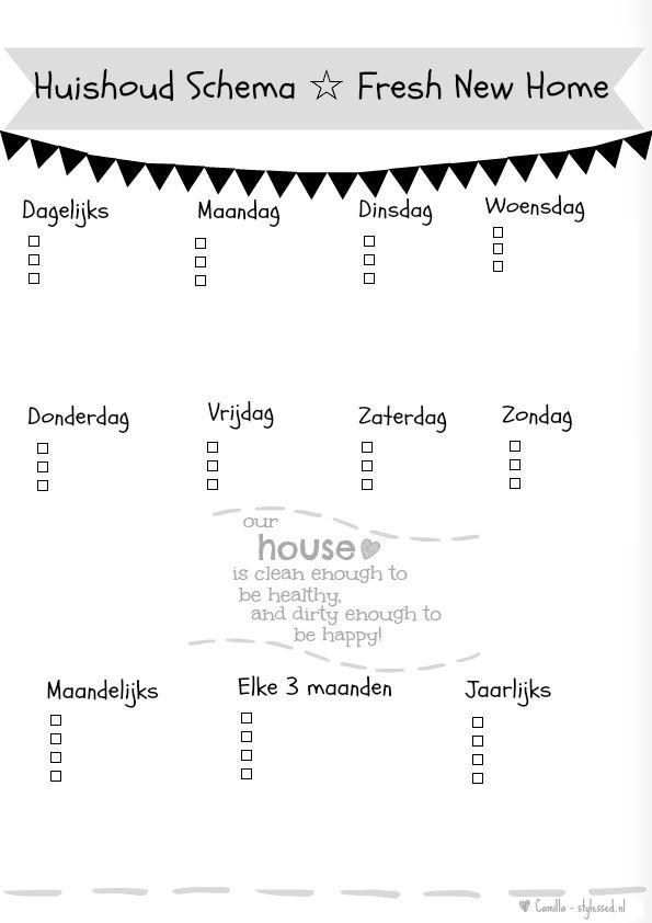 huishoud schema / schoonmaak schema #huishouden, #schema #schoonmaak…