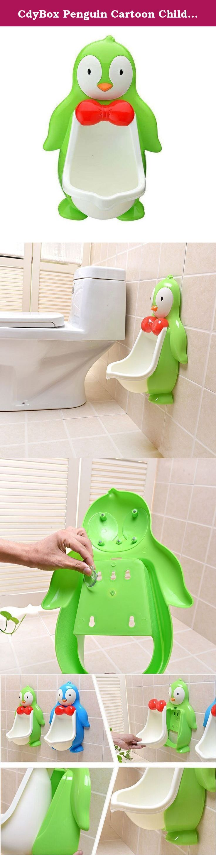 CdyBox Penguin Cartoon Children Wall Urinal Kids Boys Toilet Trainer Potty Training for Boys (Green). Description: Environmentally friendly material, nontoxic and no peculiar smell Cute Penguin Shape Attracting Boy's Attention, keeps your child focused during training With Removable Bowl Insert for Easy Cleaning in Sink or Tub The urinal can be adjusted to any height and attached to any bathroom wall or surfaces Large capacity ensure the urine will not overflow Material: PP + PVC .